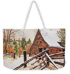 Weekender Tote Bag featuring the painting Winter - Barn - Snow In Nevada by Jan Dappen