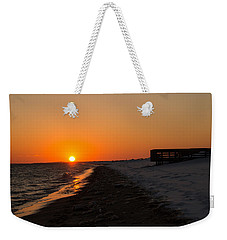 Winter Beach Sunset Weekender Tote Bag