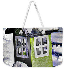 Weekender Tote Bag featuring the photograph Winter Birdfeeder by Nina Silver