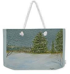 Weekender Tote Bag featuring the painting Winter Blanket by Judith Rhue