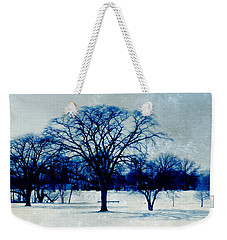 Weekender Tote Bag featuring the photograph Winter Blues by Shawna Rowe