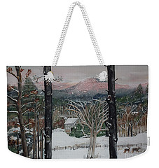 Winter - Cabin - Pink Knob Weekender Tote Bag