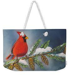 Winter Cardinal 2 Weekender Tote Bag