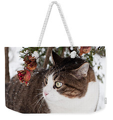 Winter Cat Weekender Tote Bag