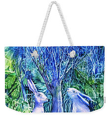 Winter Descends As Two Hares Contemplate An Owl By Moonlight Weekender Tote Bag
