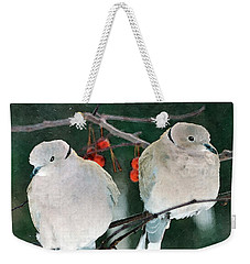 Winter Doves Weekender Tote Bag by Betty LaRue