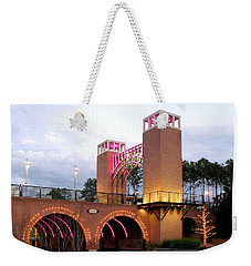 Winter Evening Lights On The Woodlands Waterway Weekender Tote Bag by Connie Fox