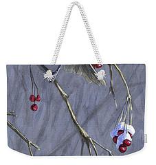 Winter Harvest 1 Chickadee Painting Weekender Tote Bag