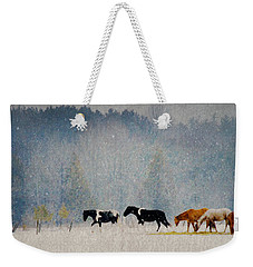 Winter Horses Weekender Tote Bag by Ann Lauwers