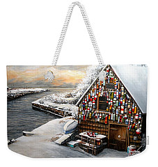 Winter Ipswich Bay Wooden Buoys  Weekender Tote Bag by Eileen Patten Oliver