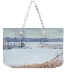 Winter Lake And Cedars Weekender Tote Bag
