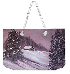 Weekender Tote Bag featuring the painting Winter Moon by Janice Rae Pariza
