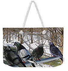 Winter Pigeon Party Weekender Tote Bag by Nina Silver