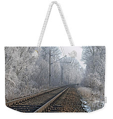 Winter Railroad Weekender Tote Bag