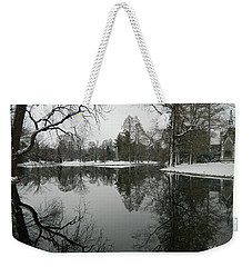 Weekender Tote Bag featuring the photograph Winter Reflections 2 by Kathy Barney
