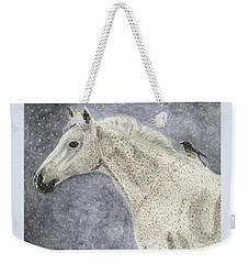 Weekender Tote Bag featuring the painting Winter Rider by Angela Davies