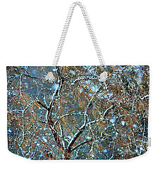 Weekender Tote Bag featuring the photograph Winter Robin by Kathy Bassett