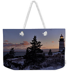 Winter Sentinel Lighthouse Weekender Tote Bag