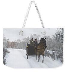 Weekender Tote Bag featuring the digital art Winter Sleigh Ride by Jayne Wilson