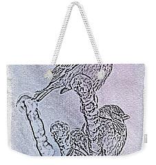 Winter Sparrows 1 Weekender Tote Bag by Betty LaRue