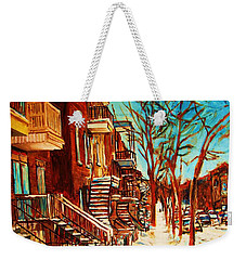 Weekender Tote Bag featuring the painting Winter Staircase by Carole Spandau