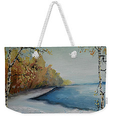 Winter Starts At Kymi River Weekender Tote Bag