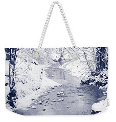 Weekender Tote Bag featuring the photograph Winter Stream by Liz Leyden