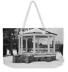 Weekender Tote Bag featuring the photograph Winter Time Gazebo by John Telfer