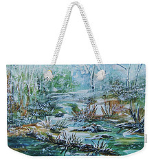 Weekender Tote Bag featuring the painting Winter Whispers On Catskill Creek by Ellen Levinson