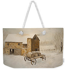 Weekender Tote Bag featuring the painting Winter Wine by Alan Lakin