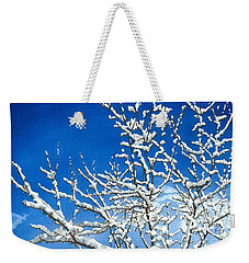 Weekender Tote Bag featuring the painting Winter's Artistry by Barbara Jewell