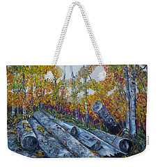 Weekender Tote Bag featuring the painting Winter's Firewood by Marilyn  McNish
