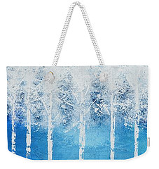 Weekender Tote Bag featuring the painting Wintry Mix by Linda Bailey