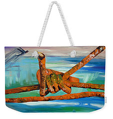 Weekender Tote Bag featuring the painting Wire by Daniel Janda