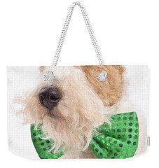 Wire Fox Terrier With Bowtie Weekender Tote Bag by Verena Matthew