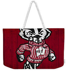 Wisconsin Badgers College Sports Team Retro Vintage Recycled License Plate Art Weekender Tote Bag by Design Turnpike