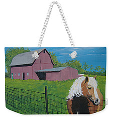 Weekender Tote Bag featuring the painting Wisconsin Barn by Norm Starks