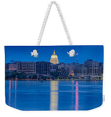 Weekender Tote Bag featuring the photograph Wisconsin Capitol Reflection by Sebastian Musial
