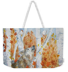 Weekender Tote Bag featuring the painting Wolf Call by Ellen Levinson