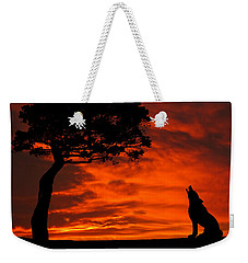 Wolf Calling For Mate Sunset Silhouette Series Weekender Tote Bag