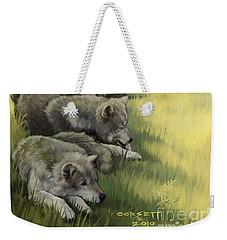 Wolf Gathering Lazy Weekender Tote Bag