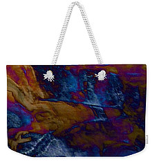 Weekender Tote Bag featuring the painting Wolf by Mike Breau