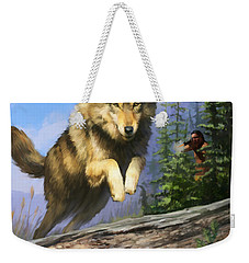 Weekender Tote Bag featuring the painting Wolf Run Indian Hunter by Rob Corsetti