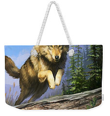 Wolf Run Weekender Tote Bag by Rob Corsetti