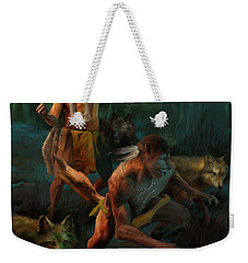 Weekender Tote Bag featuring the painting Wolf Warriors Change by Rob Corsetti