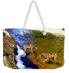Weekender Tote Bag featuring the digital art Wolves by Daniel Janda