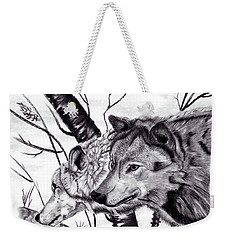 Weekender Tote Bag featuring the drawing Wolves by Mayhem Mediums