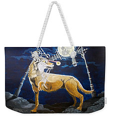 Weekender Tote Bag featuring the painting Wolves Mouth  by Lazaro Hurtado