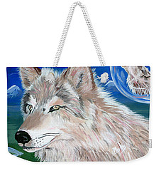 Weekender Tote Bag featuring the painting Wolves by Phyllis Kaltenbach