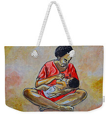 Weekender Tote Bag featuring the drawing Woman And Child by Anthony Mwangi